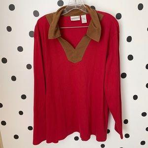 🔥30%OFF🔥EUC FASHION BUG RED/brown shirt 26/28W